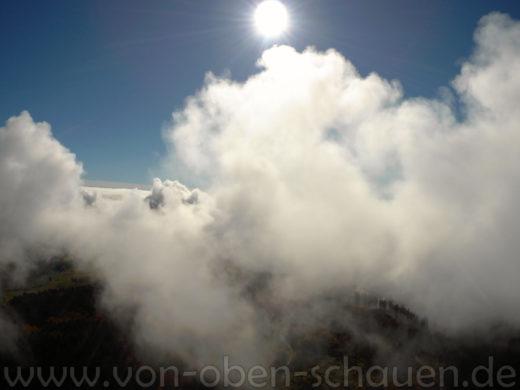 Luftaufnahmen in Altenschand über den Wolken